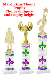 Mardi Gras Theme trophy.  Numerous trophy heights and figures available.  (001