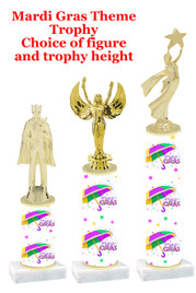 Mardi Gras Theme trophy.  Numerous trophy heights and figures available.  (002