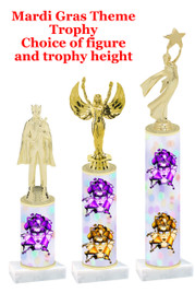 Mardi Gras Theme trophy.  Numerous trophy heights and figures available.  (003