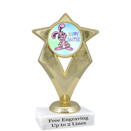 """Clearance - Discontinued  6"""" Gold star trophy with Easter insert and optional column.  (5086g"""