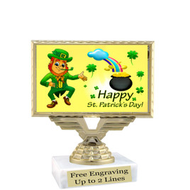 "Clearance - Discontinued  4"" trophy with St. Patrick's Day insert and optional column.  (676"