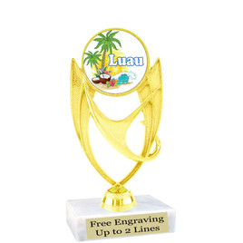 "Luau theme trophy with choice of base.  5  3/4 "" tall -ph28"