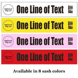 """Glitter Flake Sash. HALF SASH.  36"""" or 42"""" long.  Numerous  sash colors, glitter colors and choice of size . This is NOT a wrap around sash.  (half-002)"""