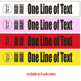 """Holographic Letter Sash. HALF SASH.  36"""" or 42"""" long.  Numerous  sash colors, hologram colors and choice of size . This is NOT a wrap around sash (005"""
