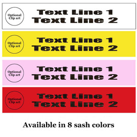 """Holographic Letter Sash. HALF SASH.  36"""" or 42"""" long.  Numerous  sash colors, hologram colors and choice of size . This is NOT a wrap around sash.  Two Lines.  (half-001"""