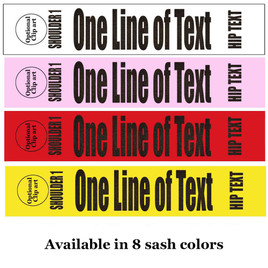 "Soft & Bold VINYL Letter Sash. HALF SASH.  36"" or 42"" long.  Numerous  sash colors, vinyl colors and choice of size . This is NOT a wrap around sash  (004"