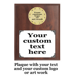 Custom plaque.  Upload your logo or artwork for insert and enter custom text.  5 Plaques sizes available