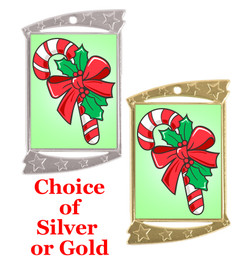 Rectangle Medal with Holiday - Winter theme art work.  Choice of gold or silver finish.  Includes free text on back  and neck ribbon.  (927 CC)