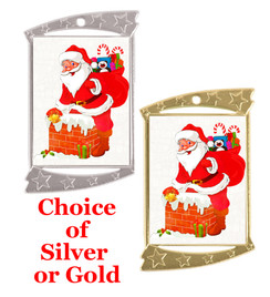 Rectangle Medal with Holiday - Winter theme art work.  Choice of gold or silver finish.  Includes free text on back  and neck ribbon.  (927 santa