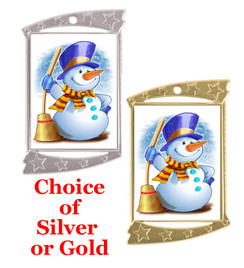 Rectangle Medal with Holiday - Winter theme art work.  Choice of gold or silver finish.  Includes free text on back  and neck ribbon.  (927 snowman
