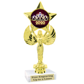 """NEW!  7  1/2""""  trophy with  colorful insert.  Includes choice of base and free engraved name plate.  (001"""