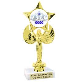 "NEW!  7  1/2""  trophy with  colorful insert.  Includes choice of base and free engraved name plate.  (003"