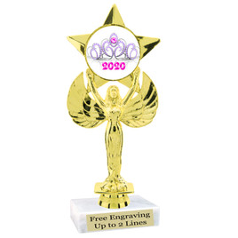 """NEW!  7  1/2""""  trophy with  colorful insert.  Includes choice of base and free engraved name plate.  (004"""