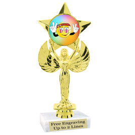 """NEW!  7  1/2""""  trophy with  colorful insert.  Includes choice of base and free engraved name plate.  (009"""