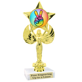 """NEW!  7  1/2""""  trophy with  colorful insert.  Includes choice of base and free engraved name plate.  (011"""