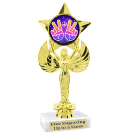 """NEW!  7  1/2""""  trophy with  colorful insert.  Includes choice of base and free engraved name plate.  (012"""