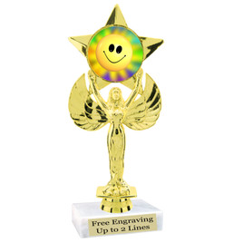 """NEW!  7  1/2""""  trophy with  colorful insert.  Includes choice of base and free engraved name plate.  (013"""