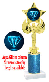 Glitter trophy with colorful art work insert.  Available in numerous trophy heights.   Blue Diamond