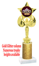 Glitter trophy with colorful art work insert.  Available in numerous trophy heights.   Crown 1