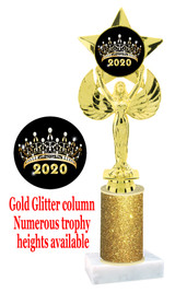 Glitter trophy with colorful art work insert.  Available in numerous trophy heights.   Gold Crown