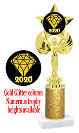 Glitter trophy with colorful art work insert.  Available in numerous trophy heights.   Gold Diamond