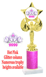 Glitter trophy with colorful art work insert.  Available in numerous trophy heights.   Pink Crown