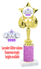 Glitter trophy with colorful art work insert.  Available in numerous trophy heights.   Lavender Crown