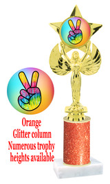 Glitter trophy with colorful art work insert.  Available in numerous trophy heights.   Peace