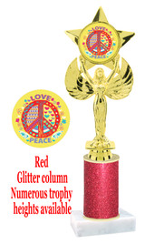 Glitter trophy with colorful art work insert.  Available in numerous trophy heights.   Peace, Love