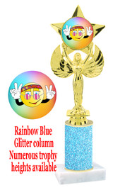 Glitter trophy with colorful art work insert.  Available in numerous trophy heights.   Smiley 1