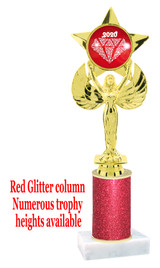 Glitter trophy with colorful art work insert.  Available in numerous trophy heights.   Red Diamond