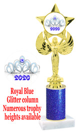 Glitter trophy with colorful art work insert.  Available in numerous trophy heights.   Royal crown