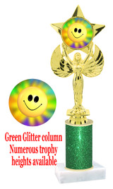 Glitter trophy with colorful art work insert.  Available in numerous trophy heights.   Smiley 2