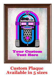 Custom Full Color Plaque.  Brown plaque with full color plate.  5 Plaques sizes available - jukebox