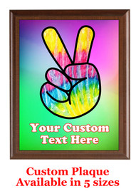 Custom Full Color Plaque.  Brown plaque with full color plate.  5 Plaques sizes available - Peace 1