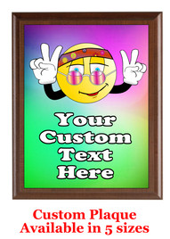 Custom Full Color Plaque.  Brown plaque with full color plate.  5 Plaques sizes available - Peace 2