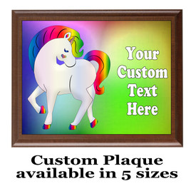 Custom Full Color Plaque.  Brown plaque with full color plate.  5 Plaques sizes available - Unicorn 2