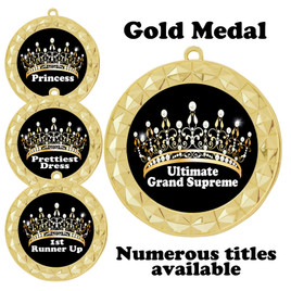 Pageant Medal with Title Specific insert.  Numerous titles available.  (935g-crown 1)