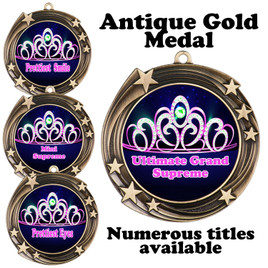 Pageant Medal with Title Specific insert.  Numerous titles available.  (930g-crown 2