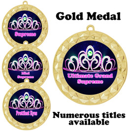 Pageant Medal with Title Specific insert.  Numerous titles available.  (935g-crown 2