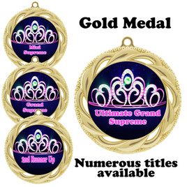 Pageant Medal with Title Specific insert.  Numerous titles available.  (938g-crown 2
