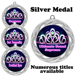 Pageant Medal with Title Specific insert.  Numerous titles available.  (938s-crown 2