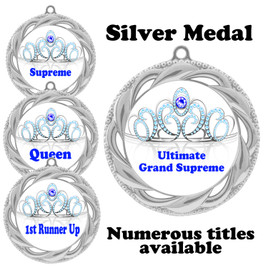 Pageant Medal with Title Specific insert.  Numerous titles available.  (938s-crown 3