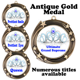 Pageant Medal with Title Specific insert.  Numerous titles available.  (930-crown 3
