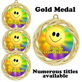 Pageant Medal with Title Specific insert.  Numerous titles available.  (938G-smiley