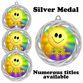 Pageant Medal with Title Specific insert.  Numerous titles available.  (938S-smiley