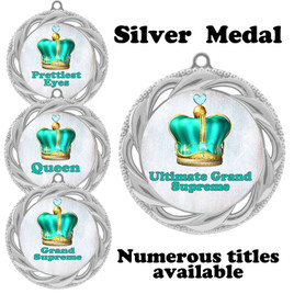 Pageant Medal with Title Specific insert.  Numerous titles available.  (938S-crown 4