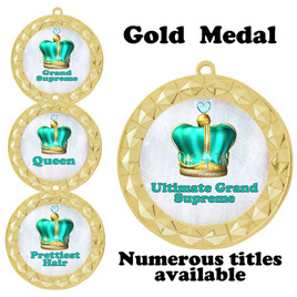 Pageant Medal with Title Specific insert.  Numerous titles available.  (935g-crown 4