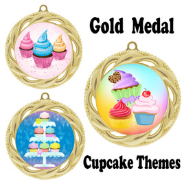 Cupcake theme medal.  Includes free engraving and neck ribbon.  (cupcake-938g