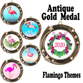 Flamingo theme medal.  Includes free engraving and neck ribbon.  (Flamingo - 930
